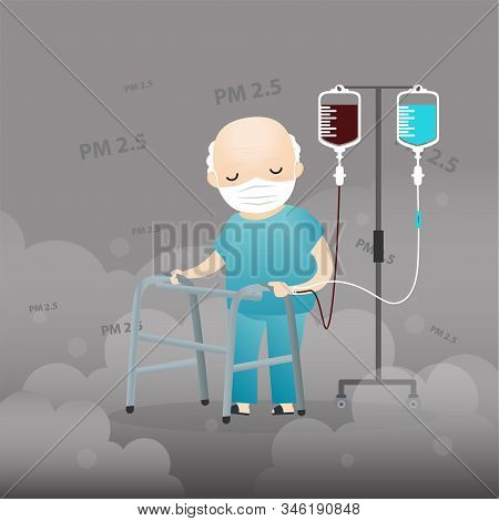 Old Man And Doctor Cough With Dirty Lung Because Pm2.5 Air Poll. Old Man And Doctor Wearing Air Poll