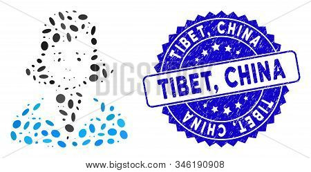 Collage Lady Icon And Corroded Stamp Seal With Tibet, China Text. Mosaic Vector Is Composed With Lad
