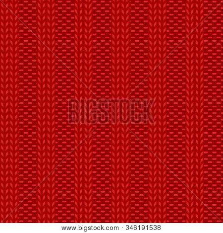 Seamless Rib Knit Red Pattern. Handicraft Background