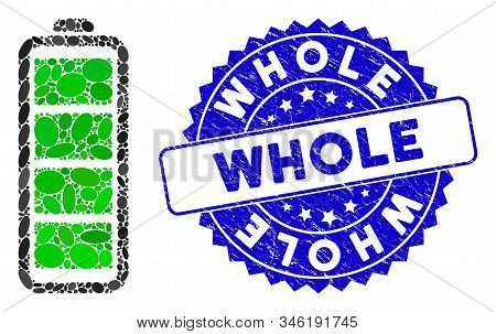 Mosaic Full Battery Icon And Rubber Stamp Seal With Whole Text. Mosaic Vector Is Created With Full B
