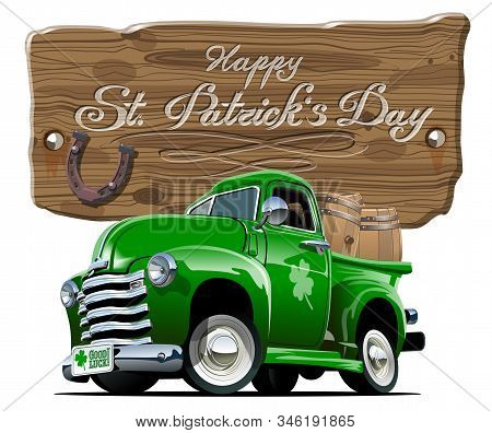 Vector Retro Cartoon Pick-up Truck With Beer Barrels For Happy Saint Patricks Day Irish Celebration