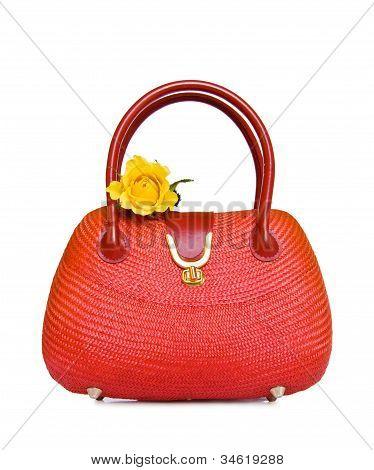 Vintage Red Straw Bag