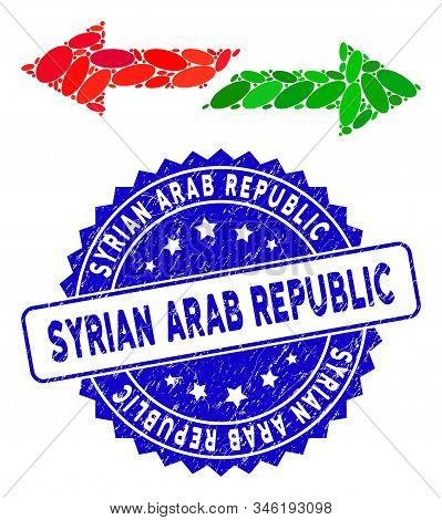 Mosaic Exchange Arrows Icon And Corroded Stamp Seal With Syrian Arab Republic Caption. Mosaic Vector