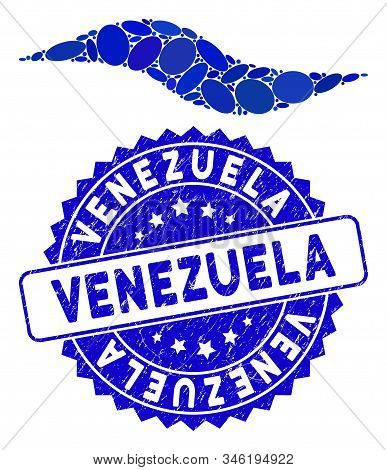Mosaic Wave Shape Icon And Corroded Stamp Seal With Venezuela Caption. Mosaic Vector Is Created With
