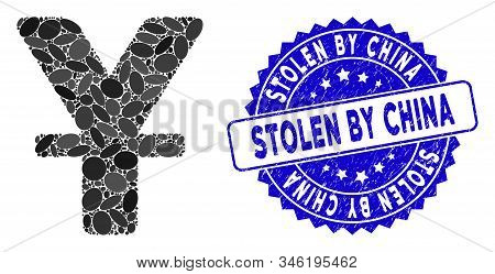 Collage Chinese Yuan Icon And Rubber Stamp Seal With Stolen By China Text. Mosaic Vector Is Created
