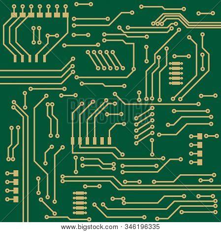 Computer Chip. Green Technical Element. Vector Illustration