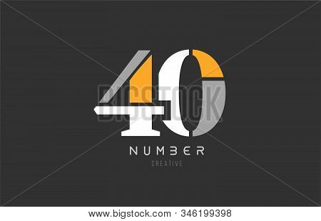 Number 40 Forty For Company Logo Icon Design In Grey Orange And White Colors. Usable For A Logotype