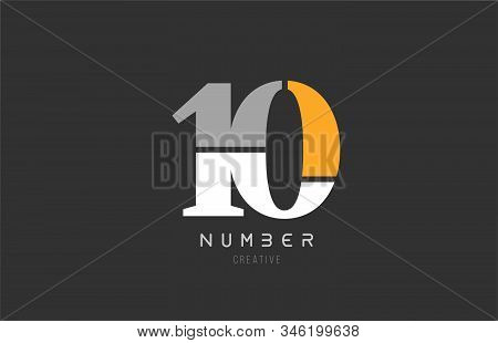 Number 10 Ten For Company Logo Icon Design In Grey Orange And White Colors. Usable For A Logotype Or