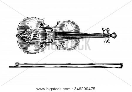 Jazz Violin And Bow In Monochrome Engraved Vintage Style. Hand Drawn Fiddle Sketch For Blues And Rag