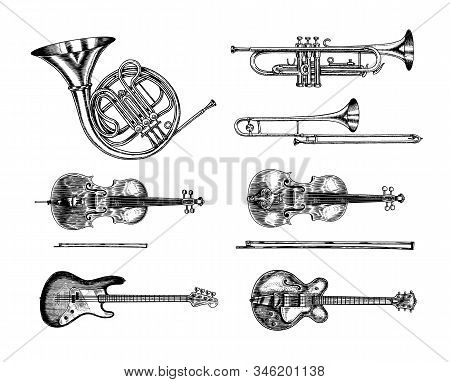 Jazz Classical Wind And Stringed Instruments Set. Musical Trombone Trumpet Flute Bass Guitar Semi-ac
