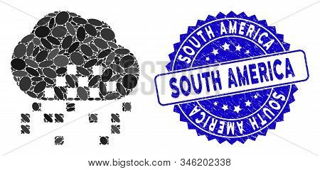 Collage Cloud Dissipation Icon And Grunge Stamp Seal With South America Caption. Mosaic Vector Is Co