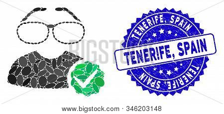 Mosaic For Clevers Icon And Distressed Stamp Seal With Tenerife, Spain Text. Mosaic Vector Is Compos