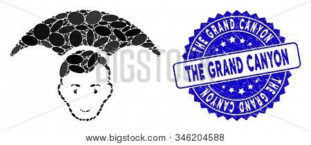 Collage Head Umbrella Icon And Grunge Stamp Watermark With The Grand Canyon Phrase. Mosaic Vector Is