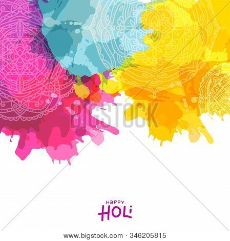 Colourful Splash With Mandala Design Decorated Background For Indian Festival Of Colours, Happy Holi
