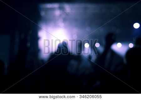 Night Party Discotheque Silhouette People Have Fun In Midnight Blue Neon Lighting In Club Darkness