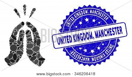 Mosaic Thank You Icon And Rubber Stamp Seal With United Kingdom, Manchester Phrase. Mosaic Vector Is