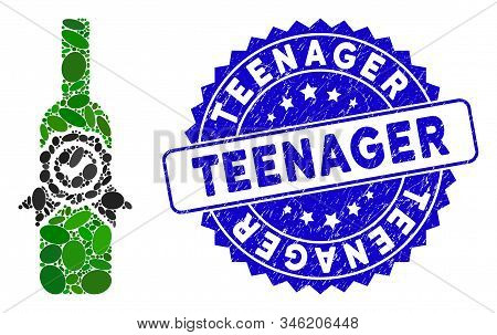 Mosaic Finest Wine Icon And Distressed Stamp Watermark With Teenager Text. Mosaic Vector Is Created