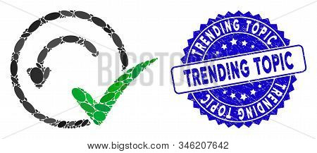Mosaic Pre-approved Icon And Corroded Stamp Seal With Trending Topic Caption. Mosaic Vector Is Desig