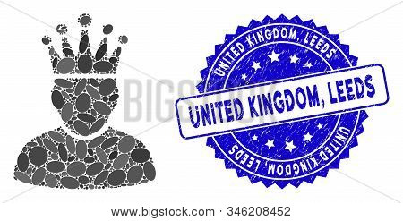 Mosaic King Icon And Distressed Stamp Seal With United Kingdom, Leeds Text. Mosaic Vector Is Designe