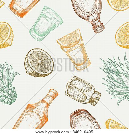 Seamless Pattern Of Tequila Glass And Bottle, Salt, Cactus And Lime. Vintage Vector Engraving Illust