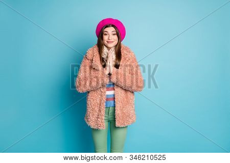 Portrairt Of Calm Dreamy Girl Ask For Help Hold Hands Together Want Dream Present For New Year X-mas