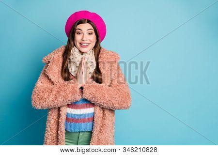 Portrait Of Amazed Content Girl Hear Wonderful News Newyear Magic Scream Wow Omg Cant Wait Get Prese