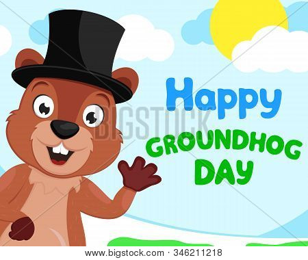 Groundhog In A Hat Waving His Paw Against The Background Of Nature, Space For Text, Copyspace. Groun