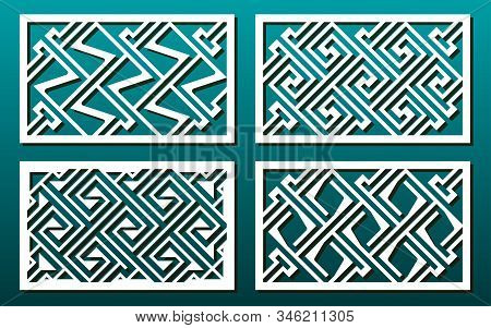 Laser Cut Template Set, Abstract Geometric Pattern In Celtic Style. Panel Decor, Metal Cutting, Wood