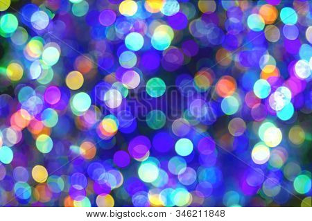 Holiday Lights Bokeh Background. Abstract Glitter Lights Blue And Multicolored, De-focused. Banner C