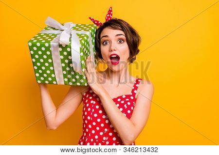 Portrait Crazy Astonished Girl Get Big Green Dream Gift Box Shake It Want Know What Boyfriend Give H