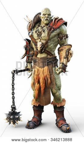 Savage Orc Brute Warrior Wearing Traditional Armor. Fantasy Themed Character On An Isolated White Ba