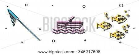 Set Fishing Net, Fishing Boat With Oars On Water And Fish Icon. Vector
