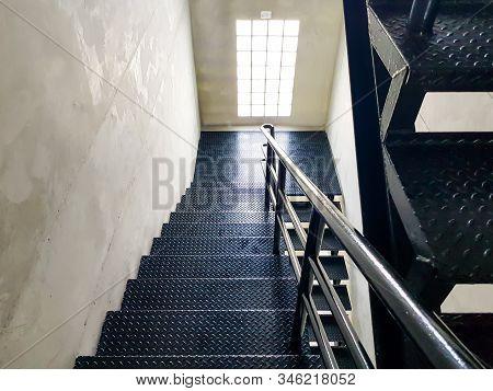 Black Diamond Steel Floor Stair Material Inside Of The Industrial Building. Durable Material Choice