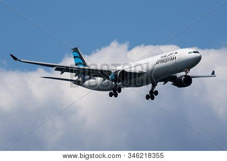 Istanbul / Turkey - March 29, 2019: Afriqiyah Airways Airbus A330-300 5a-onr Passenger Plane Arrival