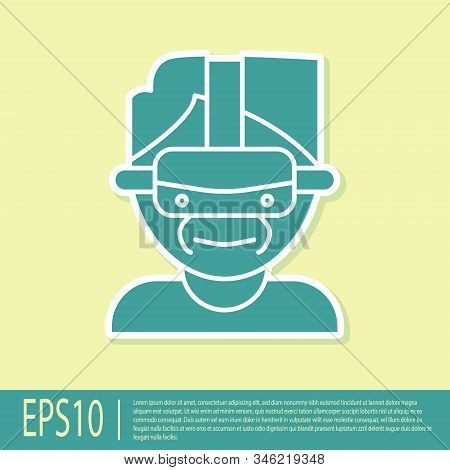 Green Virtual Reality Glasses Icon Isolated On Yellow Background. Stereoscopic 3d Vr Mask. Vector Il