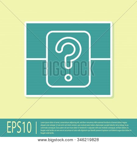 Green Mystery Box Or Random Loot Box For Games Icon Isolated On Yellow Background. Question Box. Vec