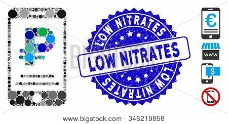 Mosaic Rouble Mobile Payment Icon And Rubber Stamp Watermark With Low Nitrates Phrase. Mosaic Vector