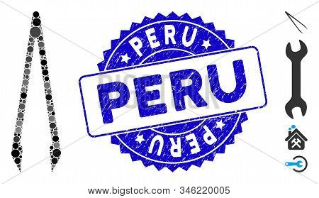 Mosaic Tweezers Icon And Grunge Stamp Seal With Peru Caption. Mosaic Vector Is Composed With Tweezer
