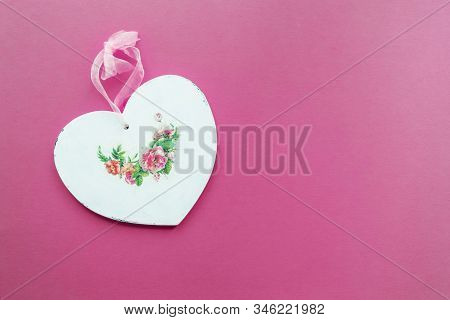 Wooden Heart Decorated In Decoupage Technique Provencal Style On A Pink Background