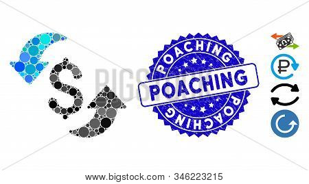 Mosaic Update Cost Icon And Rubber Stamp Seal With Poaching Caption. Mosaic Vector Is Created From U