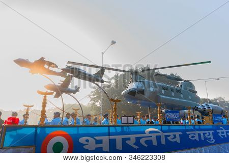 Kolkata, West Bengal, India - 23rd January 2018 : A Replica Of Chinook Helicopter On Display By Indi