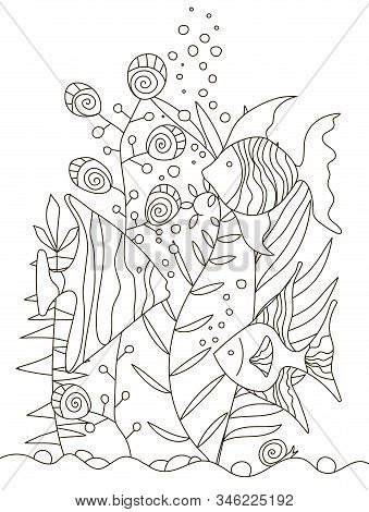 Hand Drawing Coloring Pages For Children And Adults. A Beautiful Pattern With Small Details For Crea