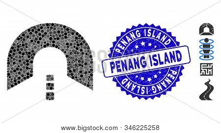 Mosaic Tunnel Icon And Rubber Stamp Watermark With Penang Island Phrase. Mosaic Vector Is Designed W