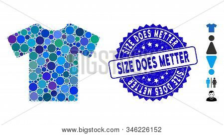 Mosaic T-shirt Icon And Rubber Stamp Watermark With Size Does Metter Phrase. Mosaic Vector Is Create