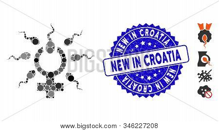 Mosaic Sperm Penetration Icon And Rubber Stamp Seal With New In Croatia Phrase. Mosaic Vector Is Com