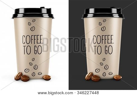 Takeway Coffee. Packing paper cups for hot drink with black caps and text coffee to go with beans of fresh-roast araa. Set of isolated mockup on white and dark background. 3d rendered illustration.