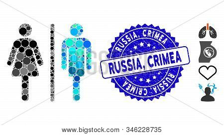 Mosaic Wc Persons Icon And Rubber Stamp Watermark With Russia, Crimea Phrase. Mosaic Vector Is Creat