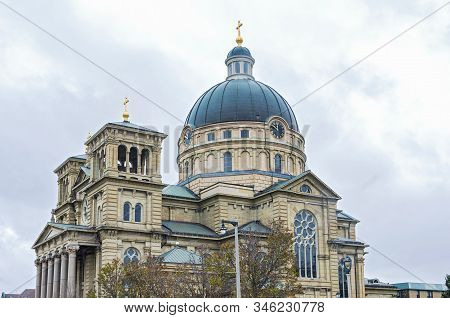 Historic Minor Basilica Of Renaissance Style Architecture In Lincoln Village Of Milwaukee Wisconsin