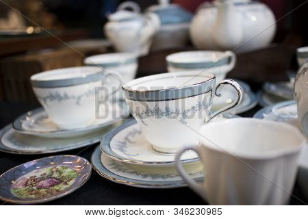 Multicolored Tea And Dining Sets At Flea Market For Sale