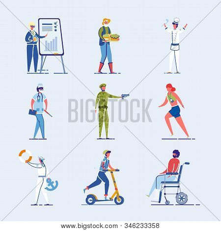 Different Characters Set - Athlete And Disabled Person As Well As Student And Various Occupations Pe